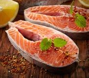 Fresh raw salmon steak slices Stock Images