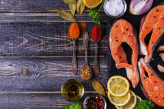 Fresh raw salmon steaks with ingredients. Fresh raw salmon steaks with ingredients on dark background, top view Stock Images