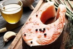 Fresh raw salmon steaks royalty free stock photography