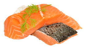 Fresh Raw Salmon Steaks Royalty Free Stock Photo