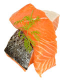 Fresh Raw Salmon Steaks Stock Photos