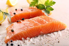 Fresh raw salmon on stone background.  Stock Images