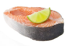 Fresh raw salmon on white background. Fresh raw salmon isolated on white background Stock Photo