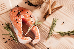 Fresh raw salmon on wooden Stock Photos