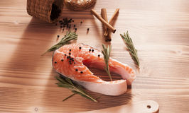 Fresh raw salmon on wooden Royalty Free Stock Photos