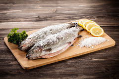 Fresh raw salmon. On wooden board Royalty Free Stock Photography