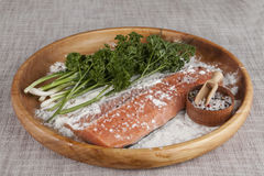 Fresh raw salmon on a wooden tray with parsley and salt Royalty Free Stock Photos