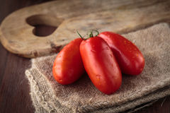 Fresh raw San Marzano tomatoes Stock Photography