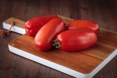 Fresh raw San Marzano tomatoes. Delicious fresh raw San Marzano tomatoes for an healthy nutrition Royalty Free Stock Photo