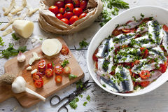 Fresh raw sardines on casserole with cherry tomatoes slices, parsley, garlic and potatoes on rustic mediterranean background Royalty Free Stock Images