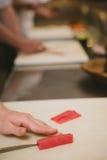 Fresh raw sashimi, japanese couisine. Shallow dof Royalty Free Stock Photography