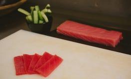 Fresh raw sashimi, japanese couisine. Shallow dof Royalty Free Stock Image