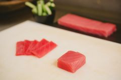 Fresh raw sashimi, japanese couisine. Shallow dof Royalty Free Stock Photos