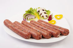 Fresh raw sausage Stock Photos