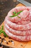 Fresh raw sausage Stock Photography