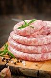 Fresh raw sausage Stock Photo