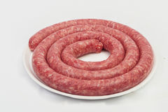 Fresh raw sausage on white background. Close up Royalty Free Stock Photo