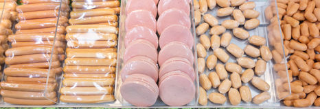 Fresh raw sausages. Fresh sausages in a shop Royalty Free Stock Photo
