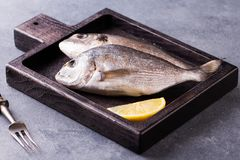 Fresh raw sea bream fish decorated with lemon slices. On wooden cutting board Stock Image
