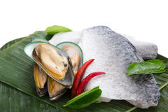 Fresh raw sea food. On banana leave Royalty Free Stock Images
