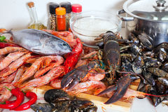 Fresh raw sea food Royalty Free Stock Photos