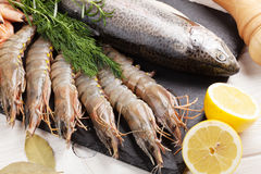 Fresh raw sea food with spices. On black stone plate. Top view Stock Photos