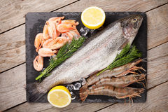 Fresh raw sea food with spices. On stone plate over wooden table background. Top view Royalty Free Stock Photo