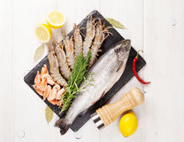 Fresh raw sea food with spices Stock Photography