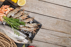 Fresh raw sea food with spices Royalty Free Stock Image
