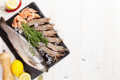 Fresh raw sea food with spices Stock Photos