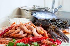 Fresh raw sea foods and fish Stock Photo