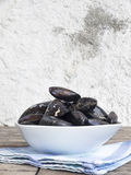 Fresh and raw sea mussels in white ceramic bowl. Resting on cotton blue and green napkin. Wooden table and white wall background. Side view Royalty Free Stock Photography