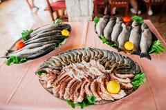 Fresh raw seafood Stock Photos