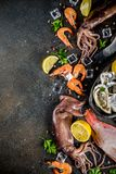 Fresh raw seafood. Squid shrimp oyster mussels fish with spices of herbs lemon on dark rusty background copy space top view Royalty Free Stock Photo