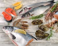 Fresh raw seafood. Healthy dieting. Top view Stock Image