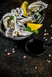 Fresh raw seafood, oysters. With lemon and ice on a light blue background Royalty Free Stock Photos
