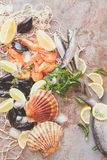 Fresh raw seafood with spices. Overhead shot of raw scallops, fish, shrimps and mussels with lemon and spices  on crushed ice and fishing net.  Preparing food Royalty Free Stock Photos