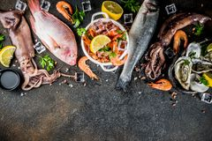 Fresh raw seafood. Squid shrimp oyster mussels fish with spices of herbs lemon on dark rusty background copy space top view Royalty Free Stock Photos