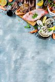 Fresh raw seafood. Squid shrimp oyster mussels fish with spices of herbs lemon on a light blue background copy space Royalty Free Stock Photography