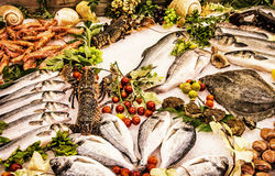 Fresh raw seafoods on counter in restaurant, yellow filter. Fresh raw seafoods on counter in restaurant. Food theme. Mediterranean specialties. Yellow photo Stock Photo