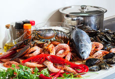 Fresh raw seafoods Royalty Free Stock Images