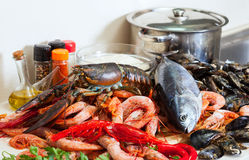 Fresh raw seafoods and fish at  table Stock Photo