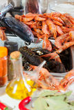 Fresh raw seafoods and  spices Stock Image