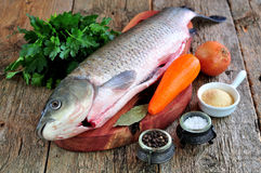 Fresh raw shelled carp with onions, carrots, parsley, salt and pepper. Stock Images