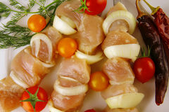 Fresh raw shish kebab Royalty Free Stock Photography