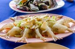 Fresh raw shrimp in fish sauce with chili and garlic.  Stock Photo