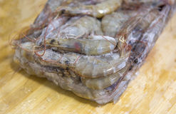 Fresh raw shrimp. Isolated on the table Royalty Free Stock Image