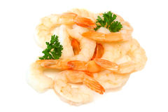 Fresh, raw shrimp isolated on white. Stacked fresh, raw shrimp on an isolated white background with copy space available Royalty Free Stock Photos