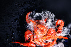 Fresh raw shrimps on black background with ice - Food background Stock Images