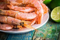 Fresh raw shrimps in a bowl with lime Royalty Free Stock Images